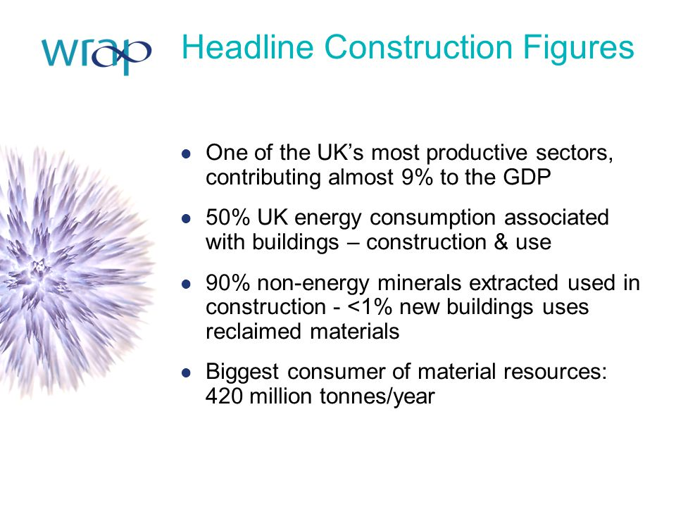 Headline Construction Figures One of the UK's most productive sectors, contributing almost 9% to the GDP 50% UK energy consumption associated with bui