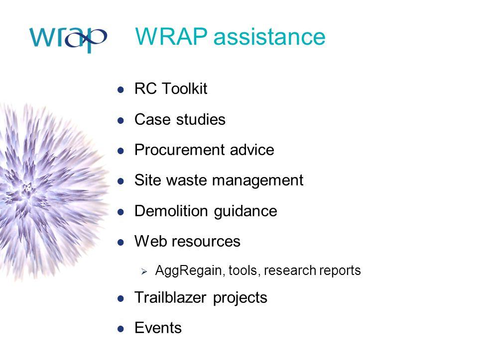WRAP assistance RC Toolkit Case studies Procurement advice Site waste management Demolition guidance Web resources  AggRegain, tools, research report