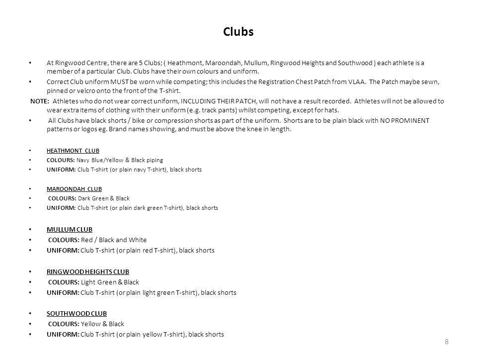 Clubs At Ringwood Centre, there are 5 Clubs; ( Heathmont, Maroondah, Mullum, Ringwood Heights and Southwood ) each athlete is a member of a particular Club.