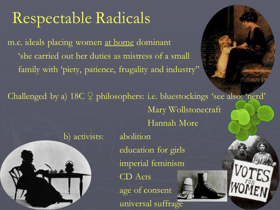 Respectable Radicals m.c. ideals placing women at home dominant 'she carried out her duties as mistress of a small family with 'piety, patience, fruga