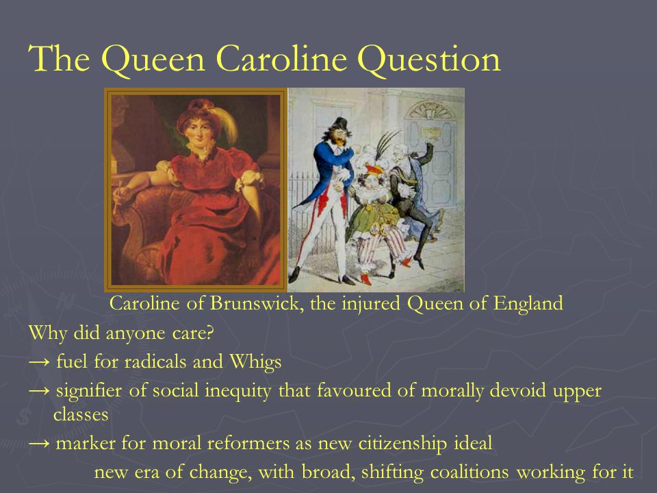 The Queen Caroline Question Caroline of Brunswick, the injured Queen of England Why did anyone care.