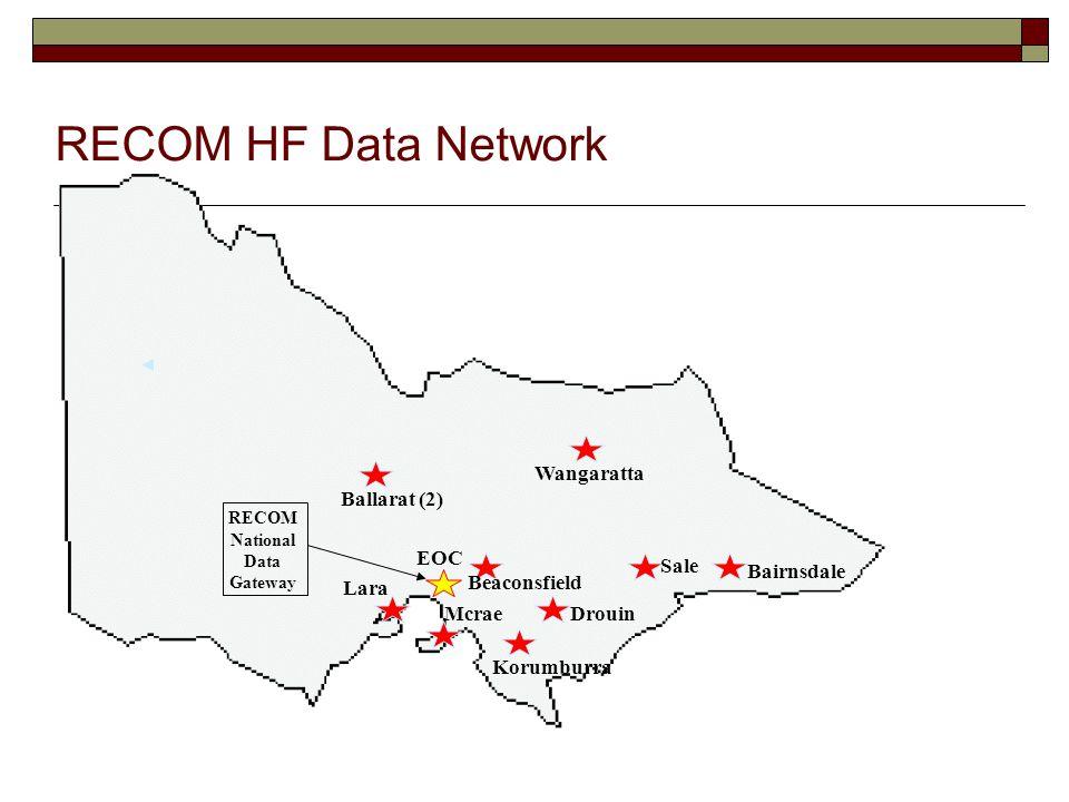 RECOM HF Data Network RECOM National Data Gateway Sale Wangaratta Beaconsfield RECOM HF Data Network EOC Ballarat (2) Korumburra McraeDrouin Bairnsdale Lara