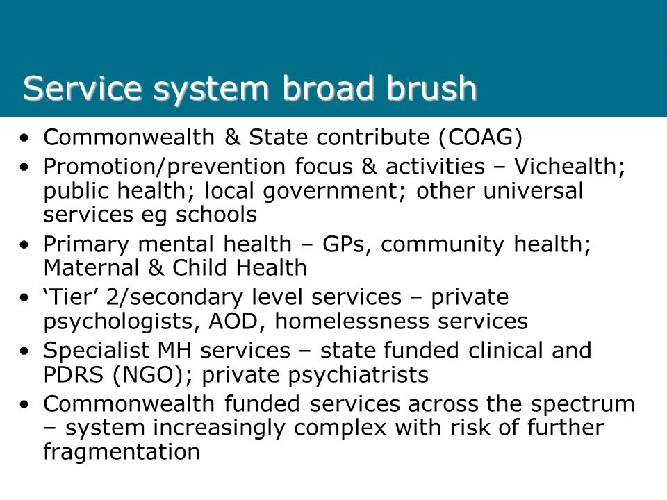 Service system broad brush Commonwealth & State contribute (COAG) Promotion/prevention focus & activities – Vichealth; public health; local government; other universal services eg schools Primary mental health – GPs, community health; Maternal & Child Health 'Tier' 2/secondary level services – private psychologists, AOD, homelessness services Specialist MH services – state funded clinical and PDRS (NGO); private psychiatrists Commonwealth funded services across the spectrum – system increasingly complex with risk of further fragmentation