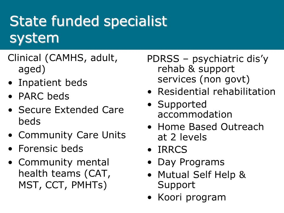 State funded specialist system Clinical (CAMHS, adult, aged) Inpatient beds PARC beds Secure Extended Care beds Community Care Units Forensic beds Community mental health teams (CAT, MST, CCT, PMHTs) PDRSS – psychiatric dis'y rehab & support services (non govt) Residential rehabilitation Supported accommodation Home Based Outreach at 2 levels IRRCS Day Programs Mutual Self Help & Support Koori program