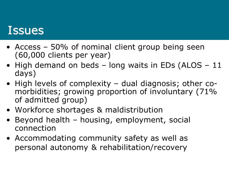 Issues Access – 50% of nominal client group being seen (60,000 clients per year) High demand on beds – long waits in EDs (ALOS – 11 days) High levels of complexity – dual diagnosis; other co- morbidities; growing proportion of involuntary (71% of admitted group) Workforce shortages & maldistribution Beyond health – housing, employment, social connection Accommodating community safety as well as personal autonomy & rehabilitation/recovery