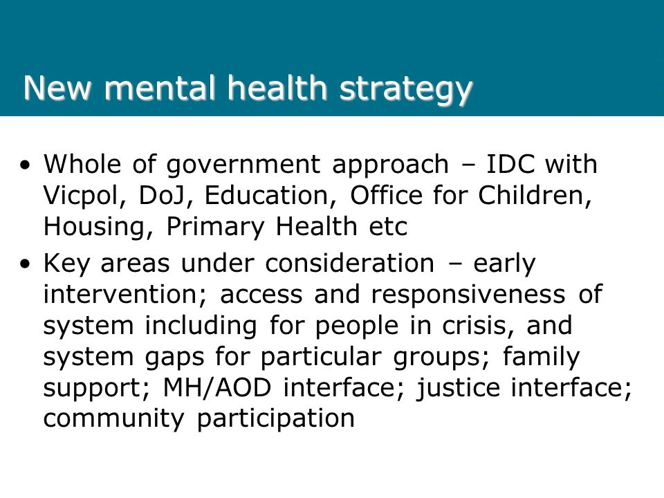 New mental health strategy Whole of government approach – IDC with Vicpol, DoJ, Education, Office for Children, Housing, Primary Health etc Key areas under consideration – early intervention; access and responsiveness of system including for people in crisis, and system gaps for particular groups; family support; MH/AOD interface; justice interface; community participation