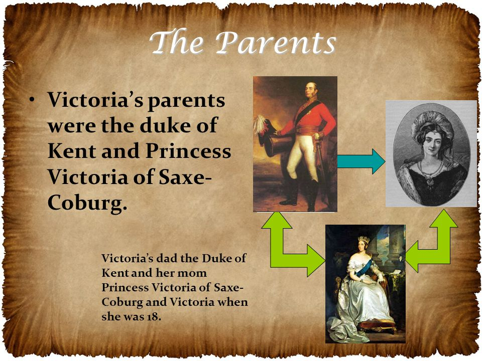 The Parents Victoria's parents were the duke of Kent and Princess Victoria of Saxe- Coburg.