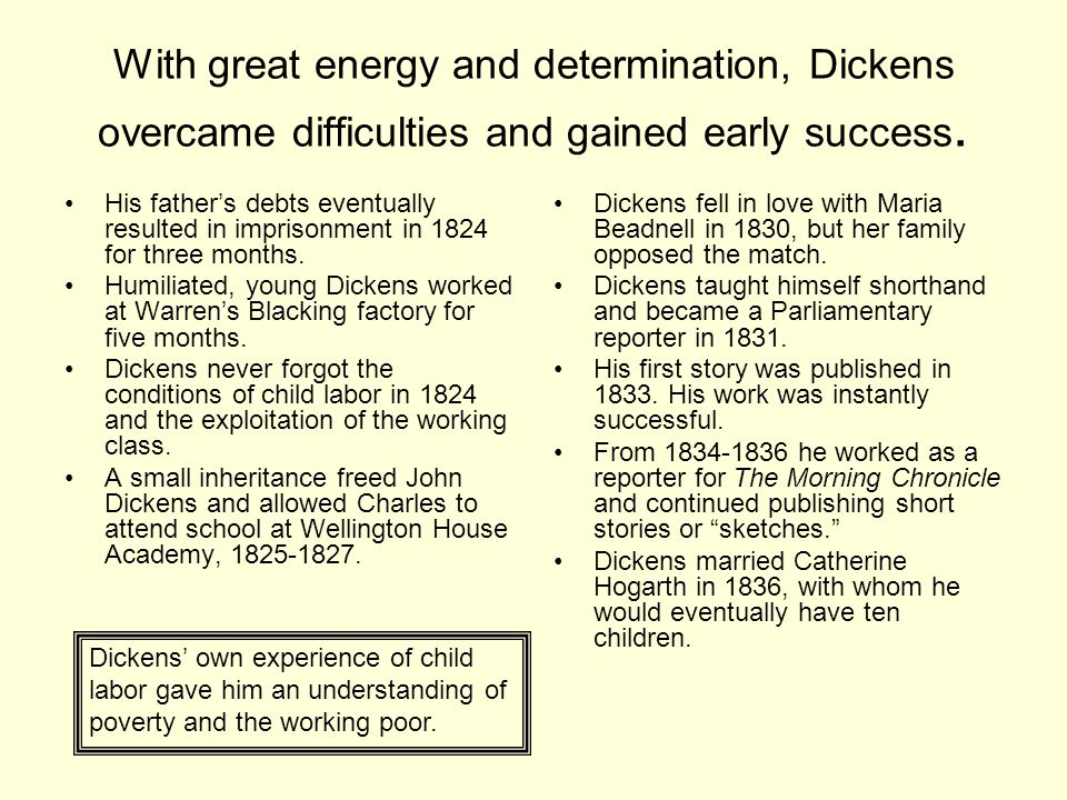 With great energy and determination, Dickens overcame difficulties and gained early success.