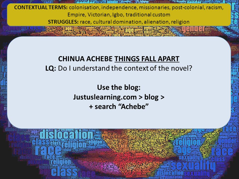"CHINUA ACHEBE THINGS FALL APART LQ: Do I understand the context of the novel? Use the blog: Justuslearning.com > blog > + search ""Achebe"" CHINUA ACHEB"