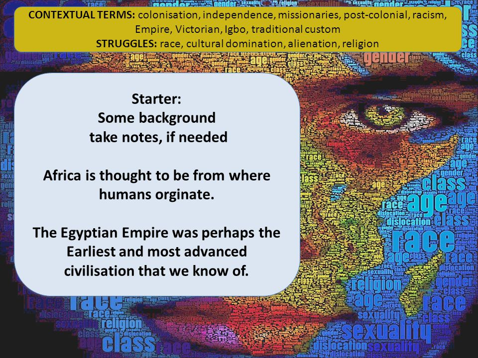 INPUT: Some background take notes, if needed Africa is thought to be from where humans originate.
