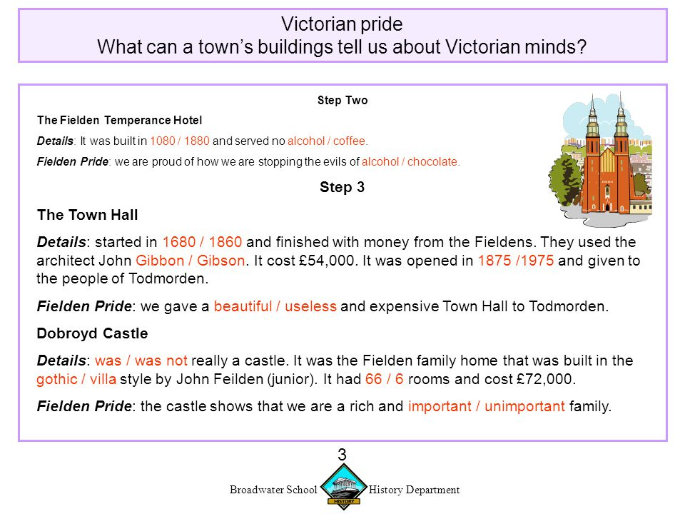 Broadwater School History Department 3 Victorian pride What can a town's buildings tell us about Victorian minds.