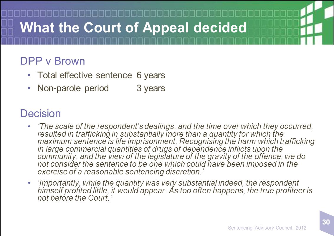 30 Sentencing Advisory Council, 2012 What the Court of Appeal decided DPP v Brown Total effective sentence6 years Non-parole period3 years Decision 'T