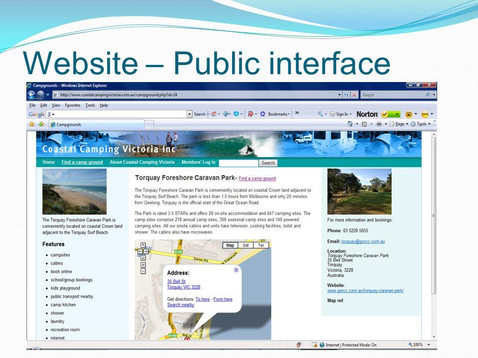 Website – Public interface