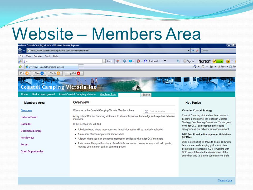 Website – Members Area
