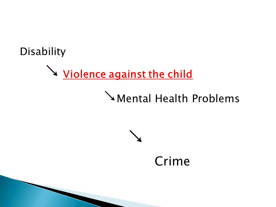 Disability ↘ Violence against the child ↘ Mental Health Problems ↘ Crime