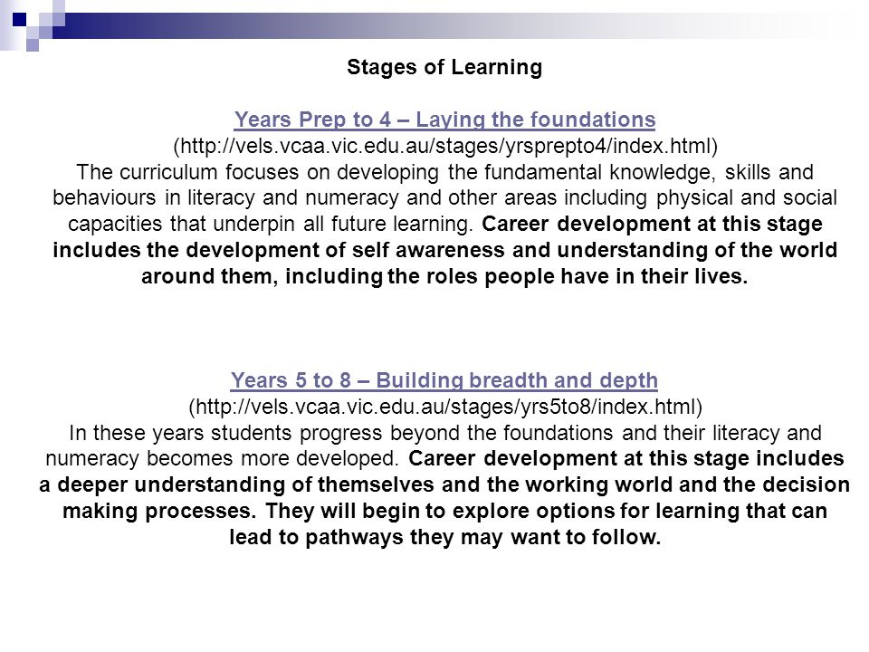 Stages of Learning Years Prep to 4 – Laying the foundations Years Prep to 4 – Laying the foundations (http://vels.vcaa.vic.edu.au/stages/yrsprepto4/in