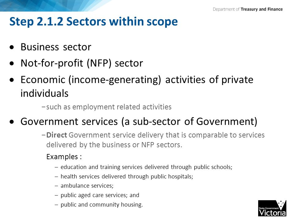 Step 2.1.2 Sectors within scope  Business sector  Not-for-profit (NFP) sector  Economic (income-generating) activities of private individuals - such as employment related activities  Government services (a sub-sector of Government) - Direct Government service delivery that is comparable to services delivered by the business or NFP sectors.