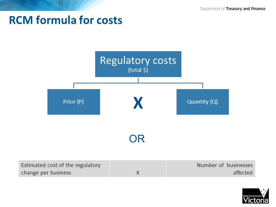 RCM formula for costs Regulatory costs (total $) Price (P) X Quantity (Q) Estimated cost of the regulatory change per businessX Number of businesses affected OR