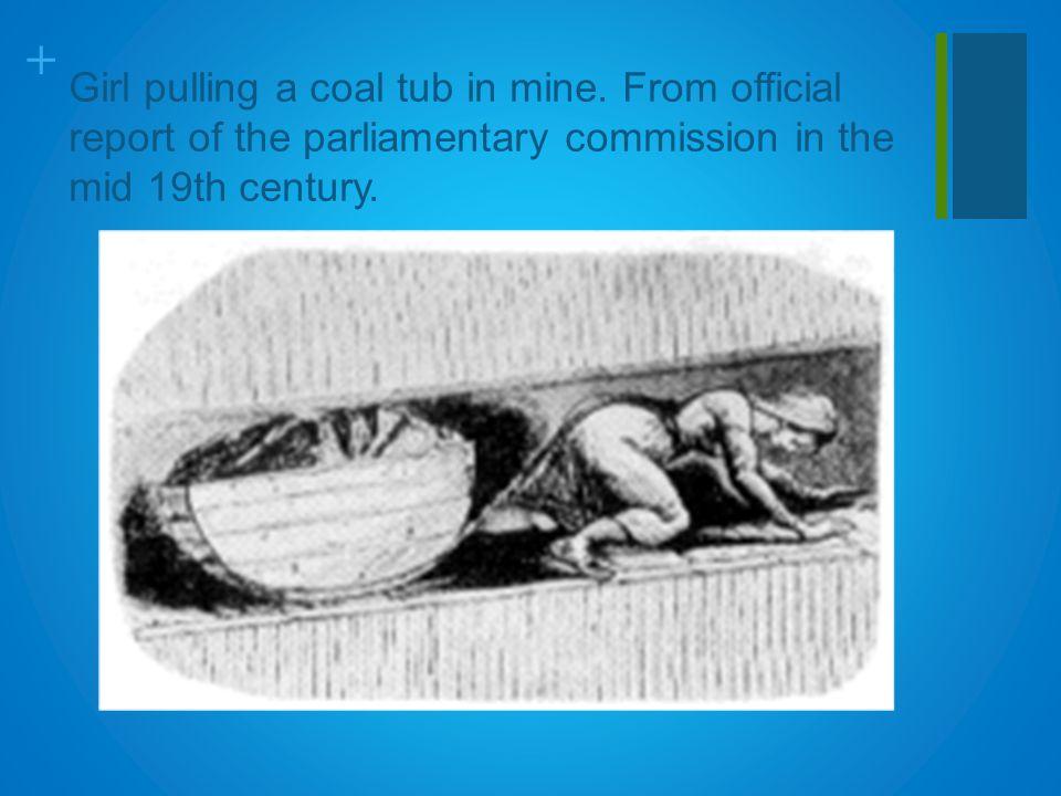 + Girl pulling a coal tub in mine.