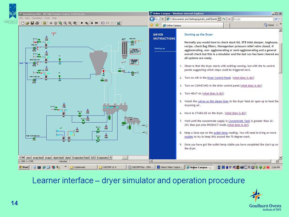 14 Learner interface – dryer simulator and operation procedure