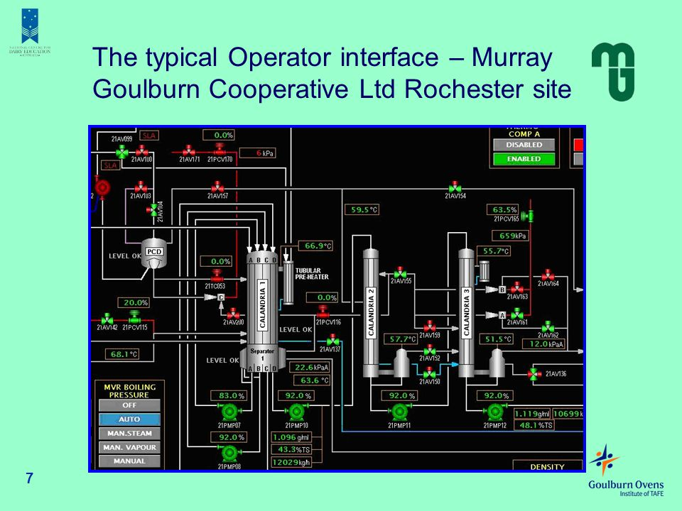 7 The typical Operator interface – Murray Goulburn Cooperative Ltd Rochester site