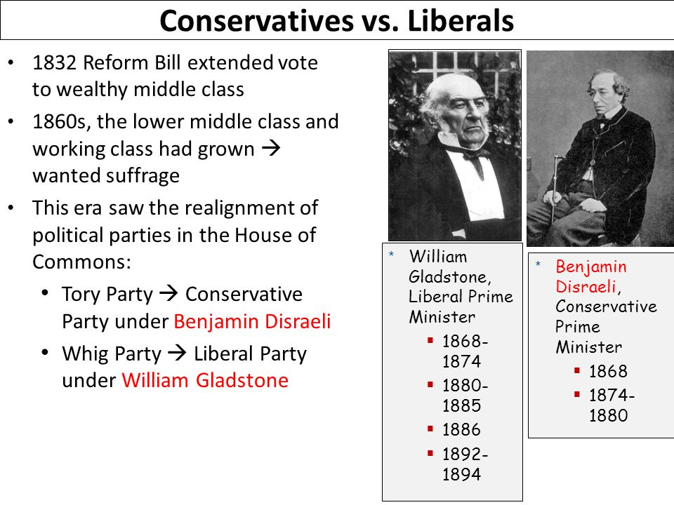 1832 Reform Bill extended vote to wealthy middle class 1860s, the lower middle class and working class had grown  wanted suffrage This era saw the realignment of political parties in the House of Commons: Tory Party  Conservative Party under Benjamin Disraeli Whig Party  Liberal Party under William Gladstone Conservatives vs.