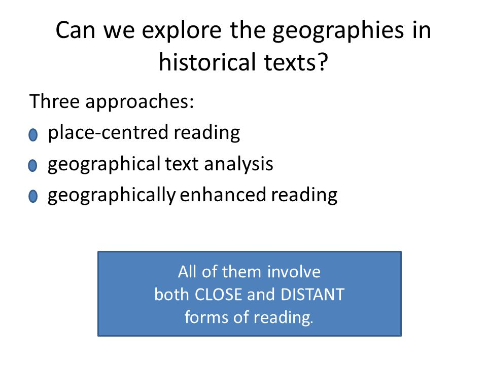 Can we explore the geographies in historical texts.