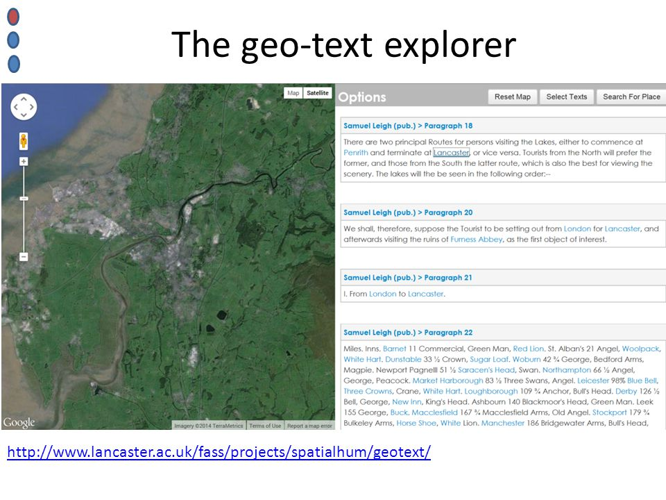 http://www.lancaster.ac.uk/fass/projects/spatialhum/geotext/ The geo-text explorer
