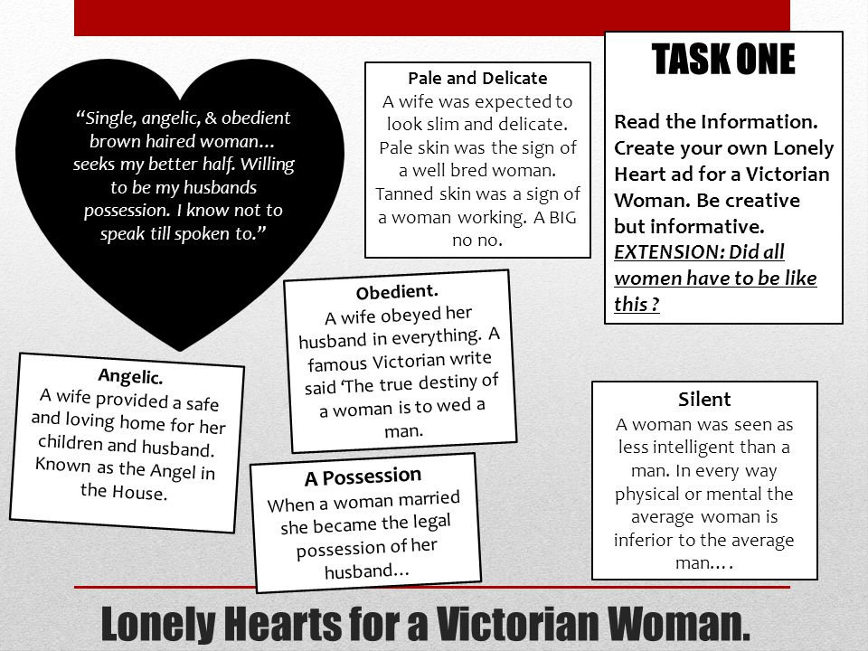 Lonely Hearts for a Victorian Woman. TASK ONE Read the Information.