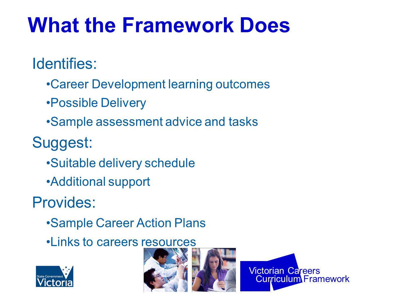 Curriculum Framework Victorian Careers What the Framework Does Identifies: Career Development learning outcomes Possible Delivery Sample assessment advice and tasks Suggest: Suitable delivery schedule Additional support Provides: Sample Career Action Plans Links to careers resources