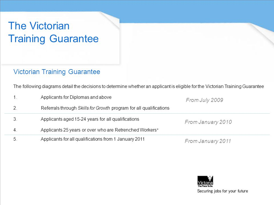 Victorian Training Guarantee The Victorian Training Guarantee The following diagrams detail the decisions to determine whether an applicant is eligible for the Victorian Training Guarantee 1.Applicants for Diplomas and above 2.