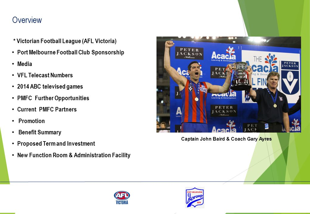AFL Victoria is the state-level sport governing body for Australian rules football in Victoria The AFL collaborates with AFL Victoria based on a philosophy of 'common objectives, local solutions' AFL Victoria's mission is to ensure Aussie Rules is the most played, attended and supported sport across Victoria, providing enjoyment and well being within an inclusive environment Under AFL Victoria jurisdiction falls 115 leagues – including the Victorian Football league, the TAC Cup, and all the Victorian metropolitan and country leagues The same number of people attend Victorian community football each week as a round of AFL matches The Victorian Football League, evolved from the former Victorian Football Association, is the premier league in Victoria and has been running since 1877 AFL Victoria