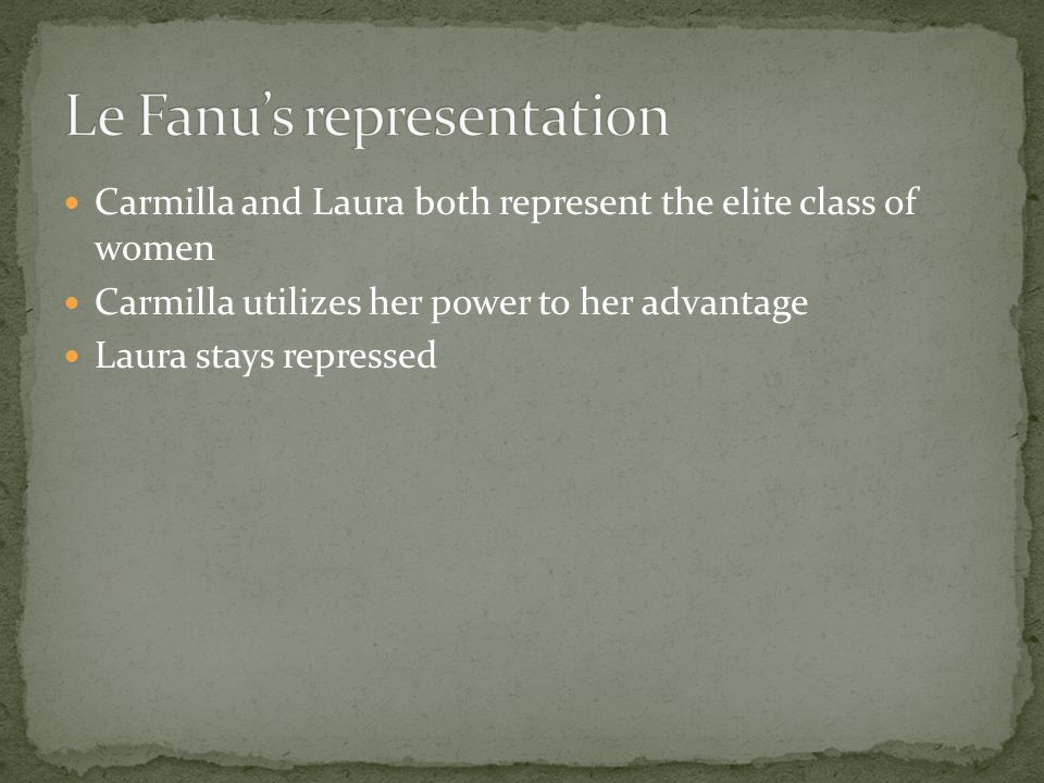 Carmilla is the Victimizer Laura is the Victim