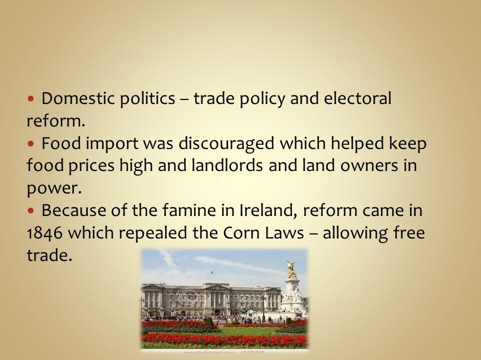Domestic politics – trade policy and electoral reform.