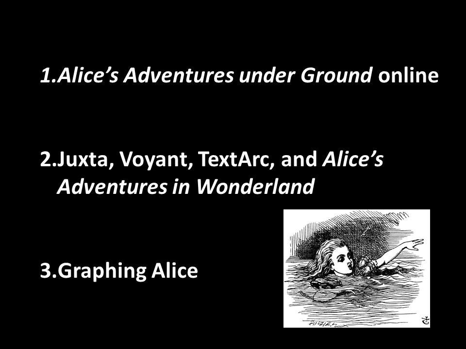 1.Alice's Adventures under Ground online 2.Juxta, Voyant, TextArc, and Alice's Adventures in Wonderland 3.Graphing Alice