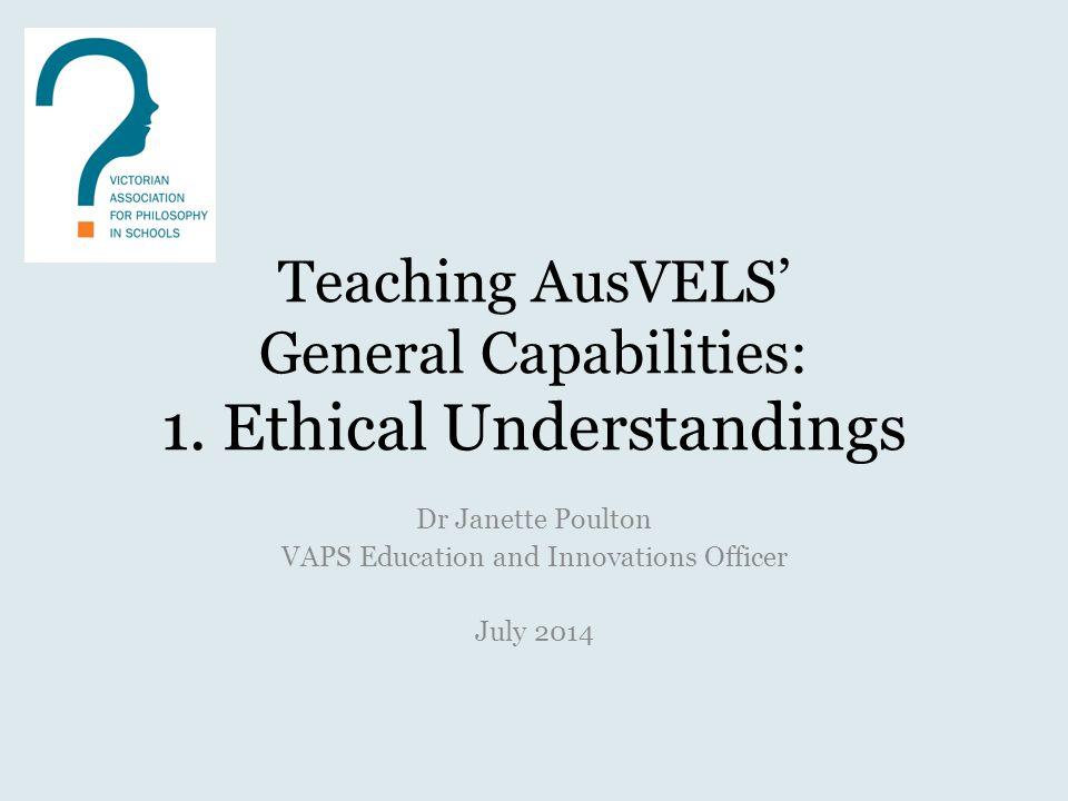 Teaching AusVELS' General Capabilities: 1.