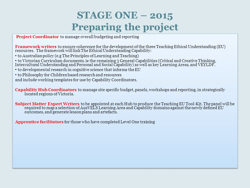 STAGE ONE – 2015 Preparing the project Project Coordinator to manage overall budgeting and reporting Framework writers to ensure coherence for the dev