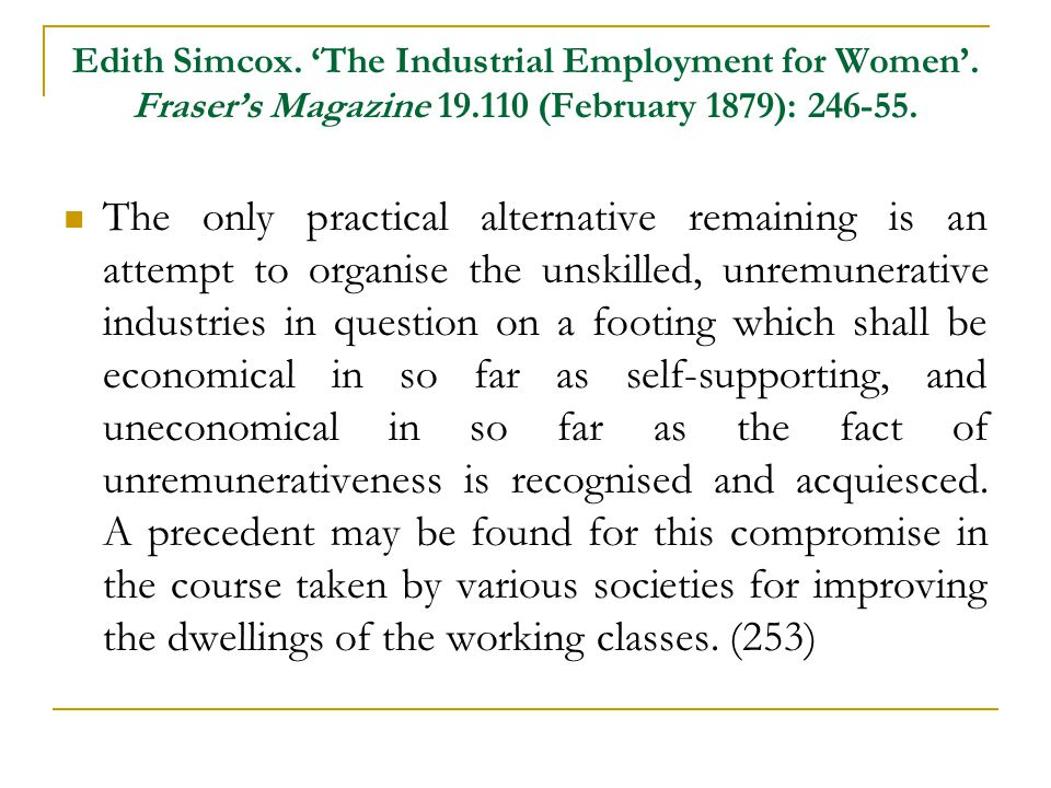 Edith Simcox. 'The Industrial Employment for Women'.
