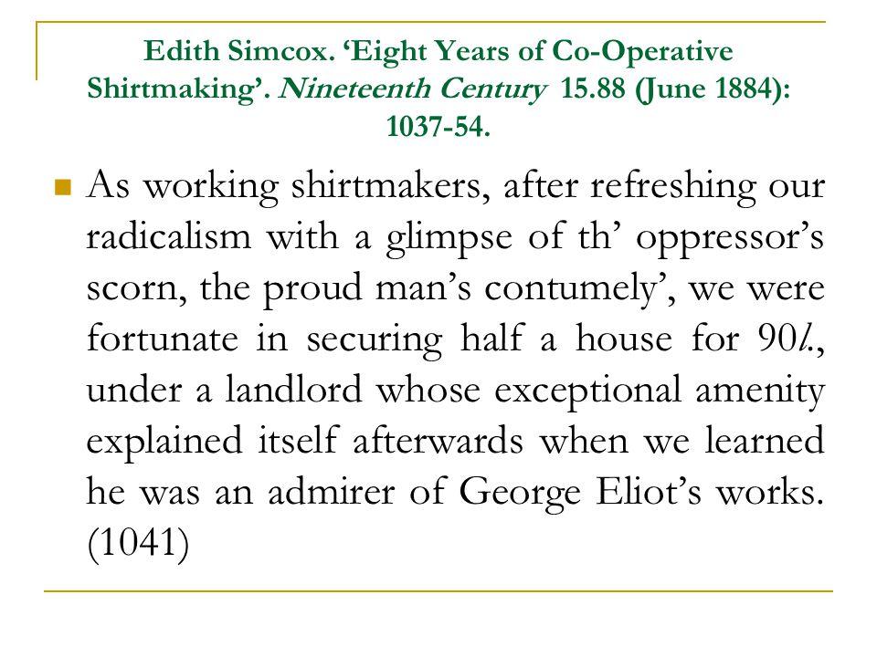 Edith Simcox. 'Eight Years of Co-Operative Shirtmaking'.