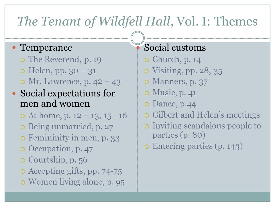 The Tenant of Wildfell Hall, Vol. I: Themes Temperance  The Reverend, p.