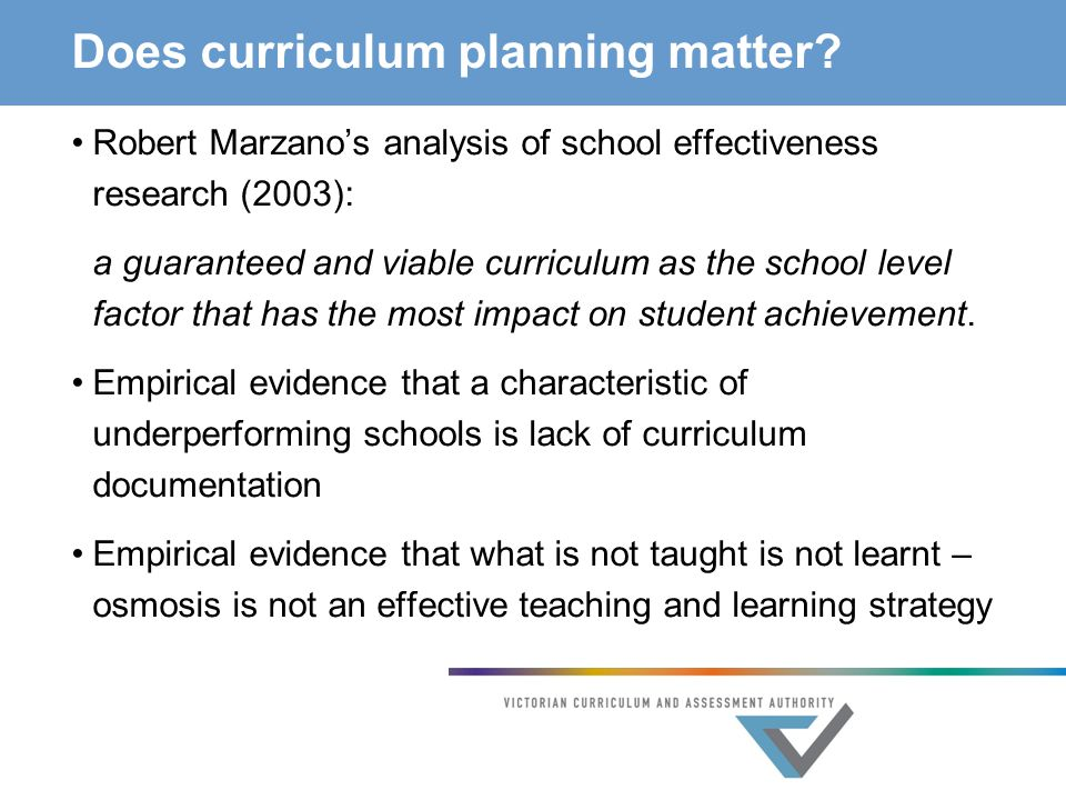 Does curriculum planning matter.