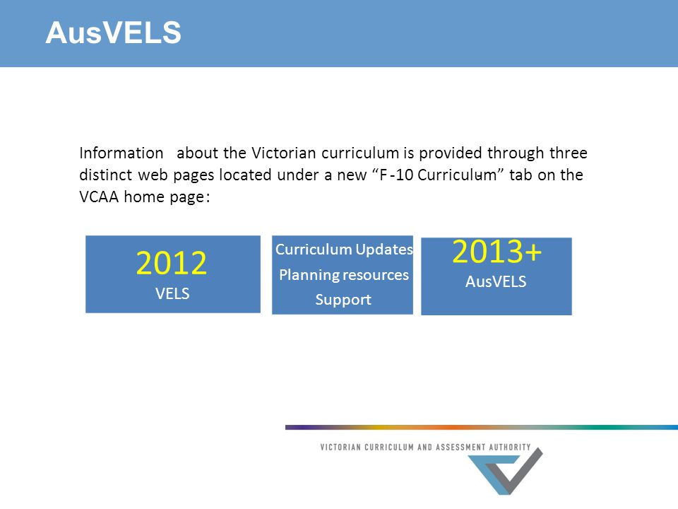 AusVELS Informationabout the Victorian curriculum is provided through three distinctweb pages located under a new F--10 Curriculum tab on the VCAA home page: 2012 VELS Curriculum Updates Planning resources Support 2013+ AusVELS