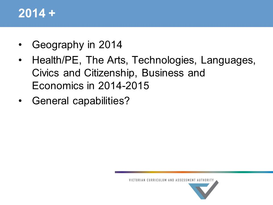 2014 + Geography in 2014 Health/PE, The Arts, Technologies, Languages, Civics and Citizenship, Business and Economics in 2014-2015 General capabilities