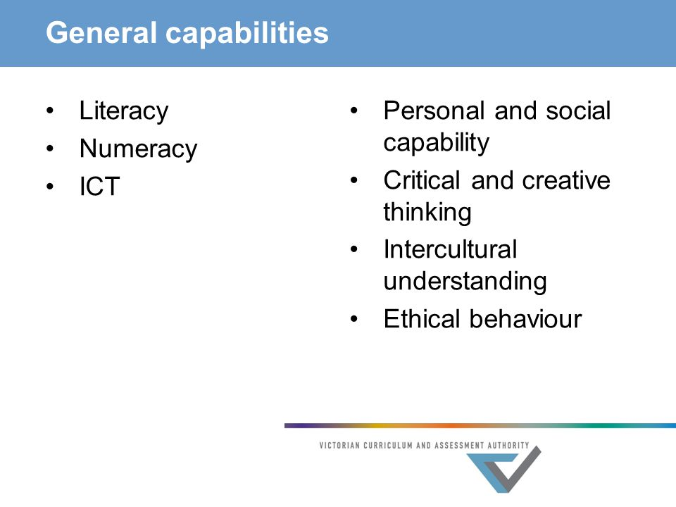 General capabilities Literacy Numeracy ICT Personal and social capability Critical and creative thinking Intercultural understanding Ethical behaviour