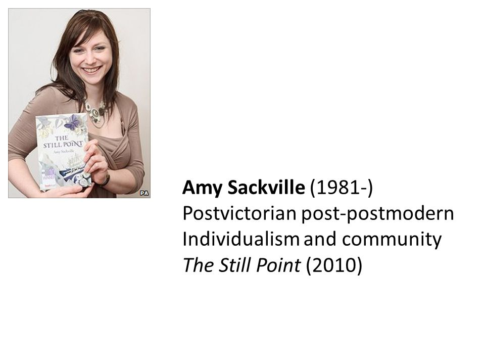 Amy Sackville (1981-) Postvictorian post-postmodern Individualism and community The Still Point (2010)