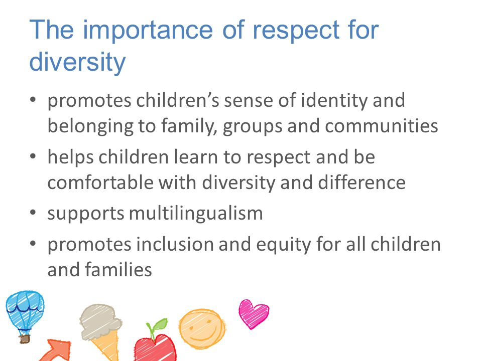 The importance of respect for diversity promotes children's sense of identity and belonging to family, groups and communities helps children learn to