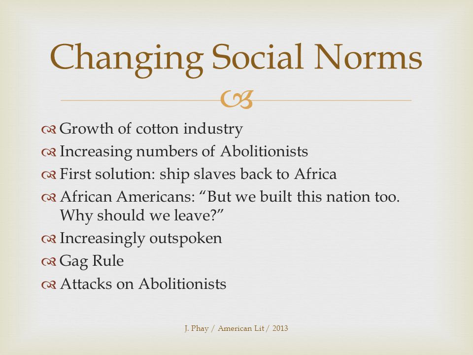   Growth of cotton industry  Increasing numbers of Abolitionists  First solution: ship slaves back to Africa  African Americans: But we built this nation too.