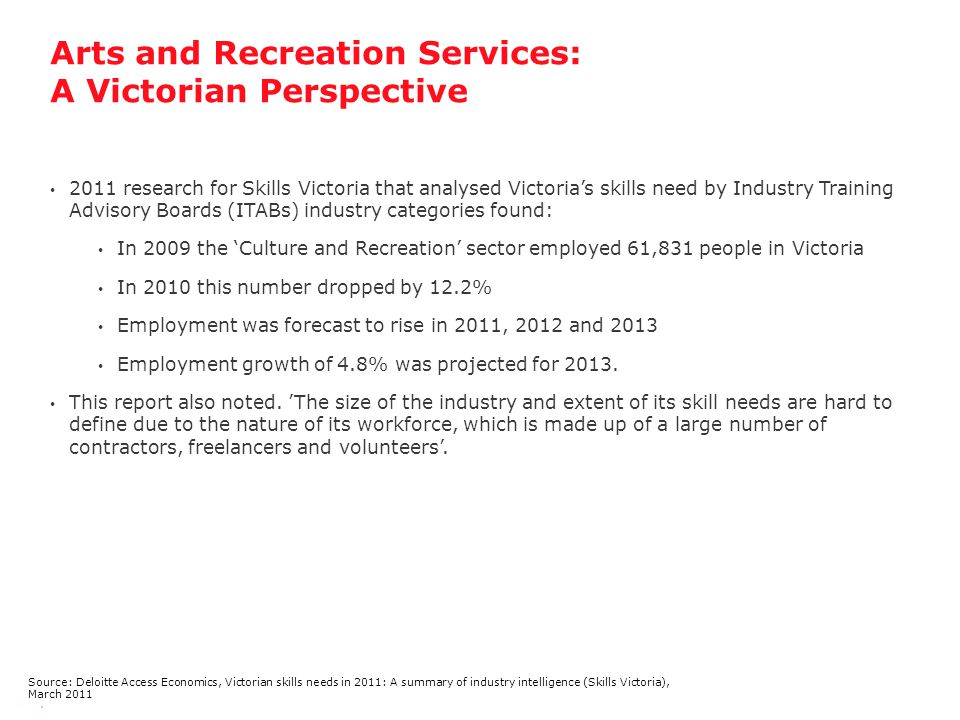 Arts and Recreation Services: A Victorian Perspective 14 | Source: Deloitte Access Economics, Victorian skills needs in 2011: A summary of industry intelligence (Skills Victoria), March 2011 2011 research for Skills Victoria that analysed Victoria's skills need by Industry Training Advisory Boards (ITABs) industry categories found: In 2009 the 'Culture and Recreation' sector employed 61,831 people in Victoria In 2010 this number dropped by 12.2% Employment was forecast to rise in 2011, 2012 and 2013 Employment growth of 4.8% was projected for 2013.
