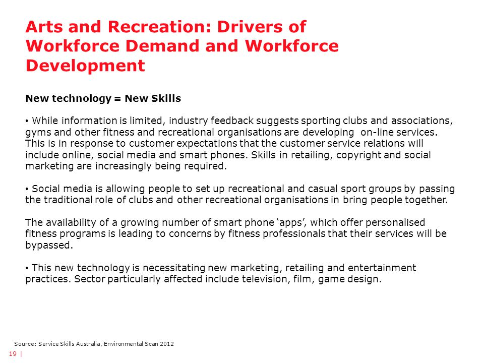 Arts and Recreation: Drivers of Workforce Demand and Workforce Development 19 | Source: Service Skills Australia, Environmental Scan 2012 New technology = New Skills While information is limited, industry feedback suggests sporting clubs and associations, gyms and other fitness and recreational organisations are developing on-line services.