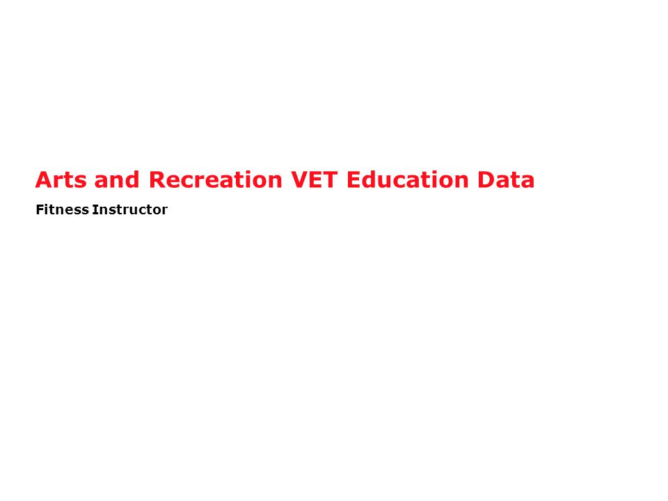 Arts and Recreation VET Education Data Fitness Instructor